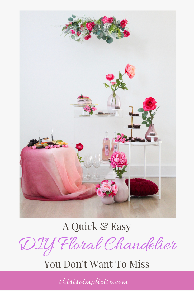 Quick and Easy Floral Chandelier DIY. #easyDIY #florals #floralchandelier