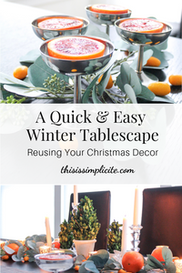 Winter Tablesetting with Citrus. #reuseyourchristmasdecor #wintertablesetting #wintertablescape #decoratewithfruit