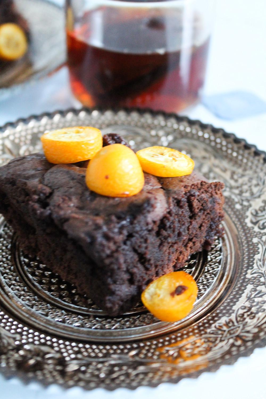 Earl Grey Infused Chocolate Brownies With Kumquats. #earlgrey #chocolatebrownies #eatdessert