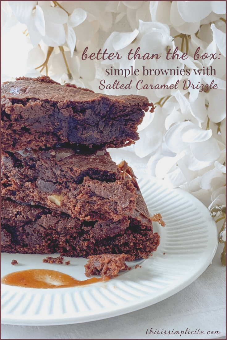 Better Than The Box: Simple Brownies With Salted Caramel Drizzle #justdelicious #feedfeed #brownies #dessertrecipes #feedfeedbaking