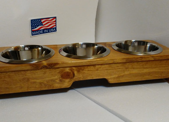 GAGLIO WOOD PRODUCTS 3 Bowl Stool Stand Pet Feeder 24'' L X 7'' W X 4-1/2'' H