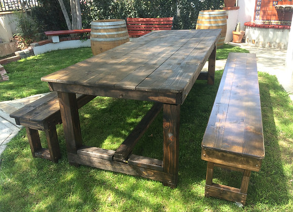 Wesleys Folding  8' Farm Table w/2 Solid 8' Benches