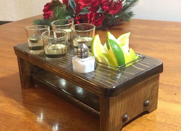Shot Glass Holder 4 Glasses Salt Shaker and Lemon - Lime Tray all Included (.Mad