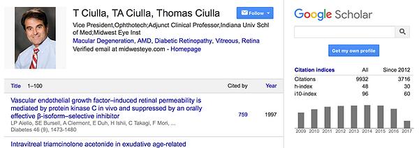 Dr. Ciulla's citations