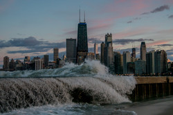 Chicago Skyline Lake Michigan Waves