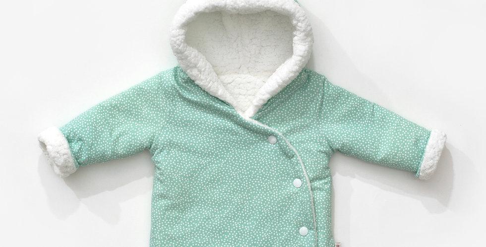 Haina iarna reversibila verde menta Wool baby reversible winter coat mint