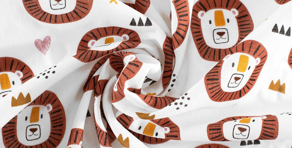 Material textil muselina organica leu rosu Buva Boutique organic muslin red lion