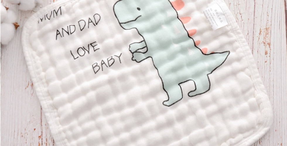 Set prosopele muselina bumbac bebe dino urs baby face muslin towel dino bear