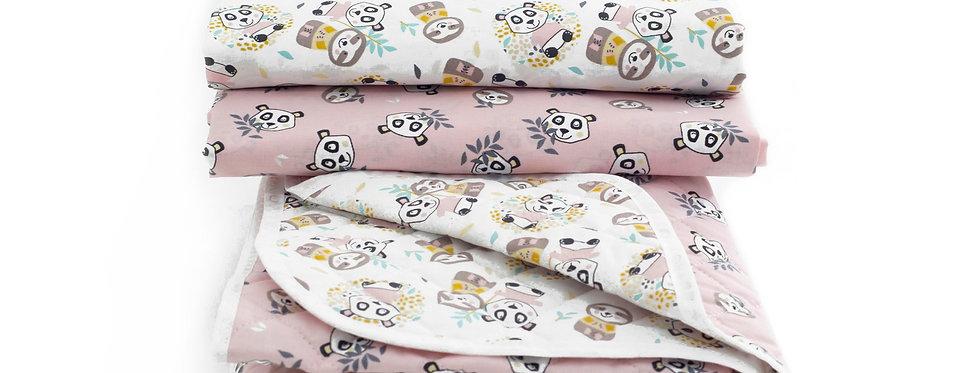 Set cuvertura+ 2 cearceafuri Blush Sloth& Panda