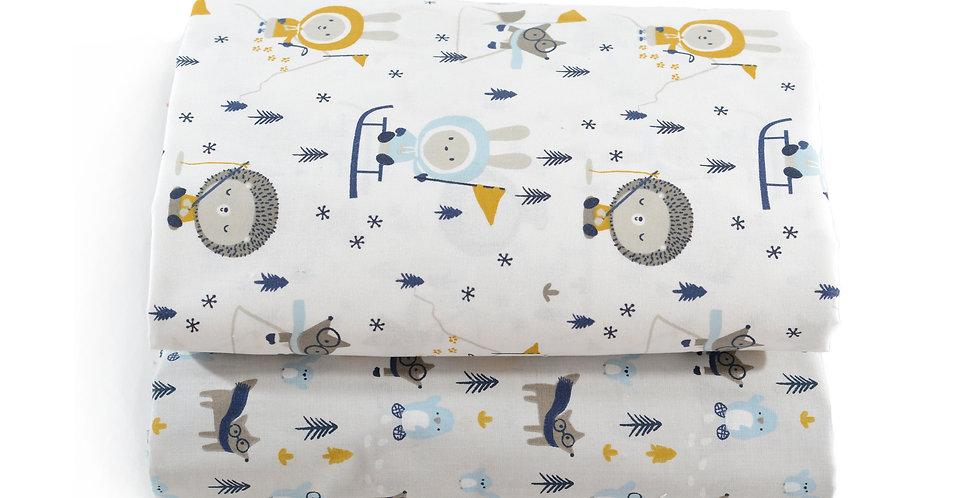 Cearceaf cu elastic patut bebe arici pinguin lup baby bedsheet hedgehog penguin wolf