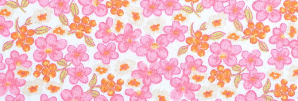 Material textil bumbac certificat flori roz