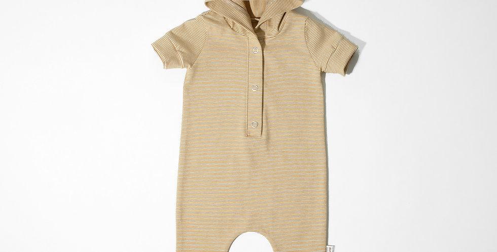 Romper bumbac OEKO-Tex stripped jersey galben alb dungi  cotton romper