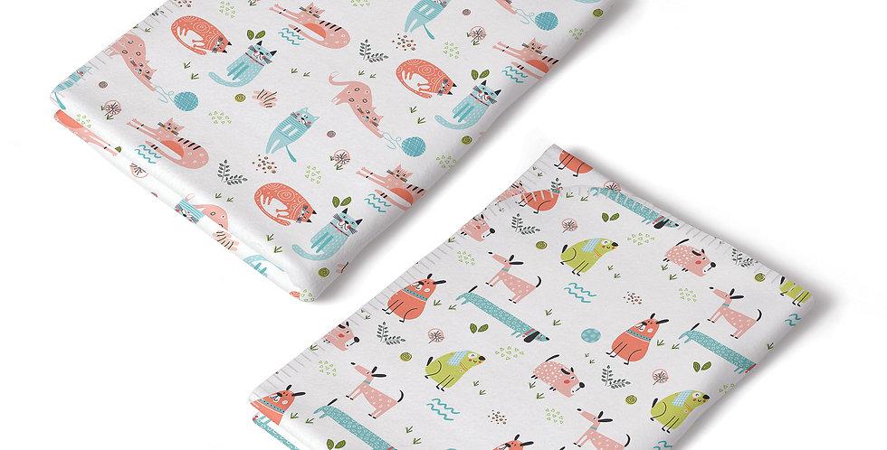 Paturica interlock bumbac organic pisici catei organic interlock blanket cats dogs