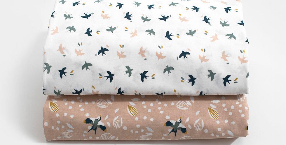Cearceaf cu elastic patut bebe pasarele crem baby bedsheet birdie petale