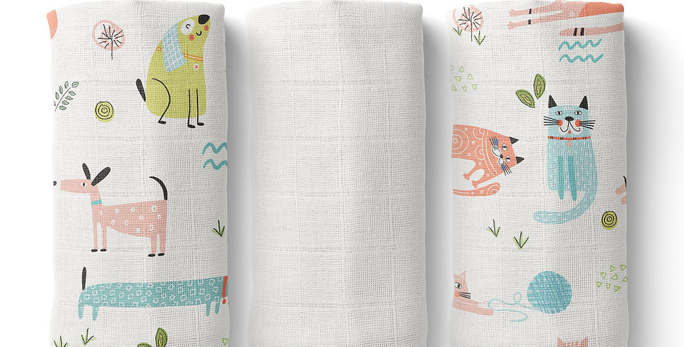 Set prosopele muselina organica organic muslin face towel catel pisici cats dogs natural
