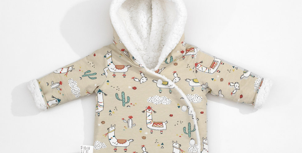 Haina iarna reversibila Alpaca Wool baby reversible winter coat