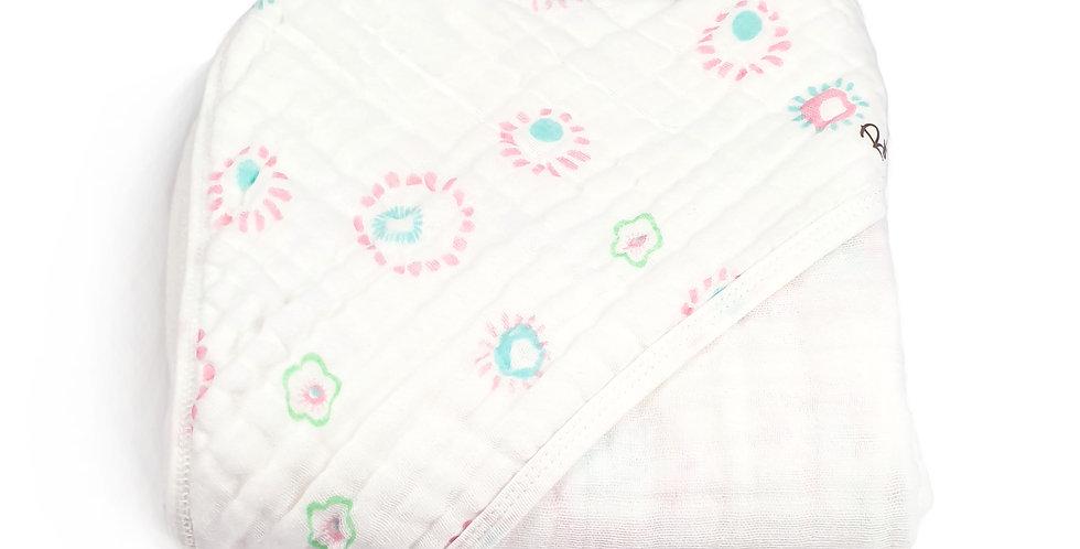 Buva Boutique prosop bebe muselina bumbac capison cerc baby muslin hooded towel circle