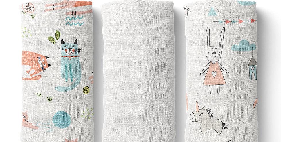 Set prosopele muselina organica organic muslin face towel pisici cats scandinavian natural