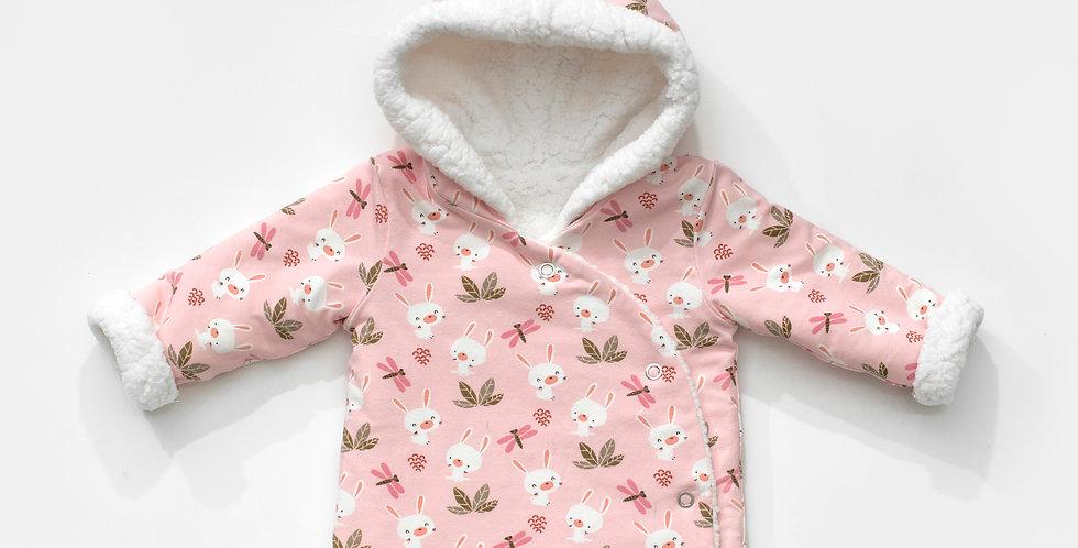 Haina iarna reversibila iepuras Wool baby reversible winter coat bunny