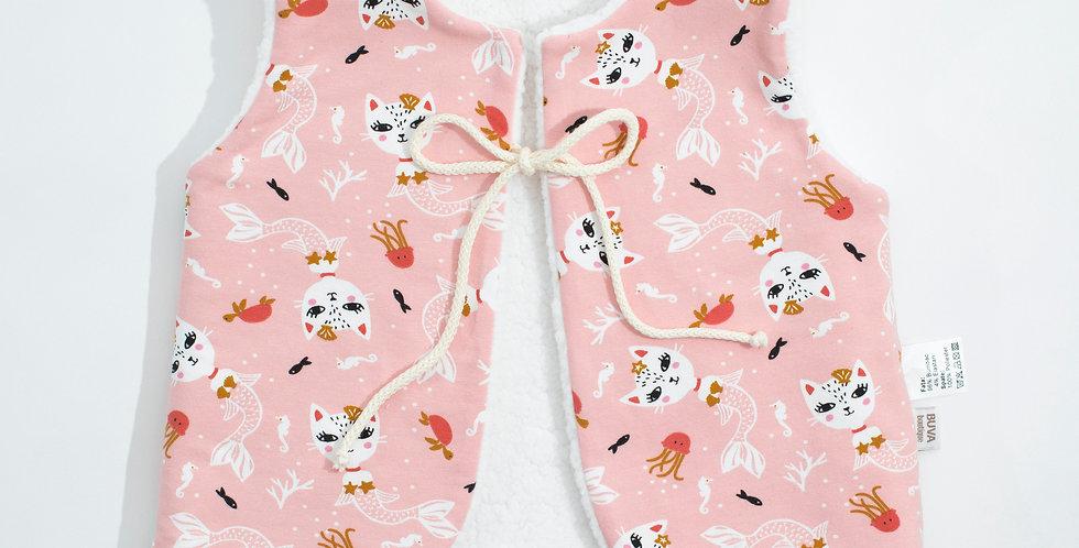 Vesta Sherpa Jersey Cats Wool vest