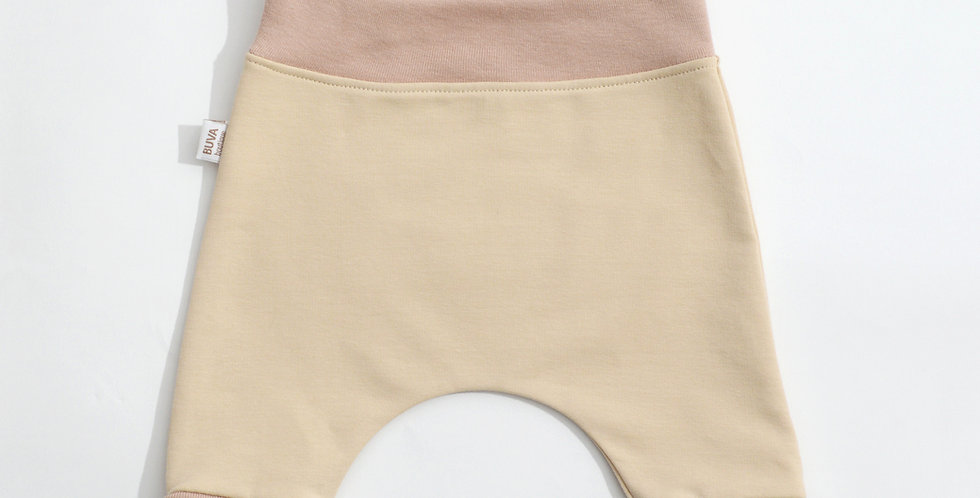 Pantaloni harem bumbac OEKO-Tex French terry nude cotton pants