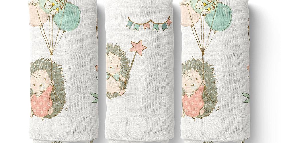 Set prosopele muselina organica arici organic muslin face towel hedgehog