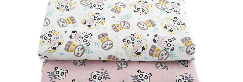 Cearceaf cu elastic patut bebe panda lenes roz blush baby sheet