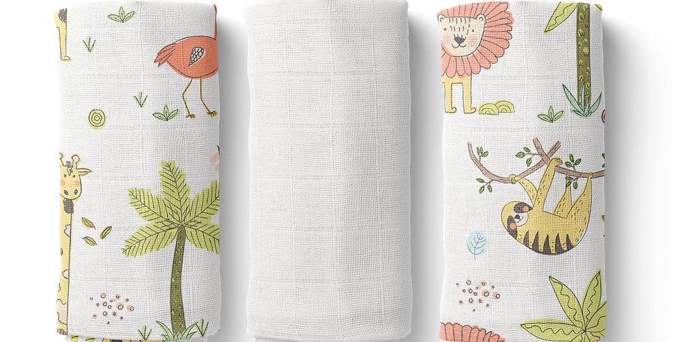 Set prosopele muselina organica organic muslin face towel girafa leu natural giraffe lion