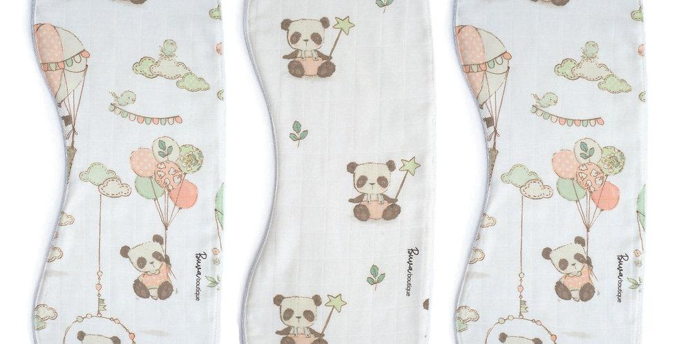 Protectie regurgitare muselina organica panda drool bib organic muslin panda