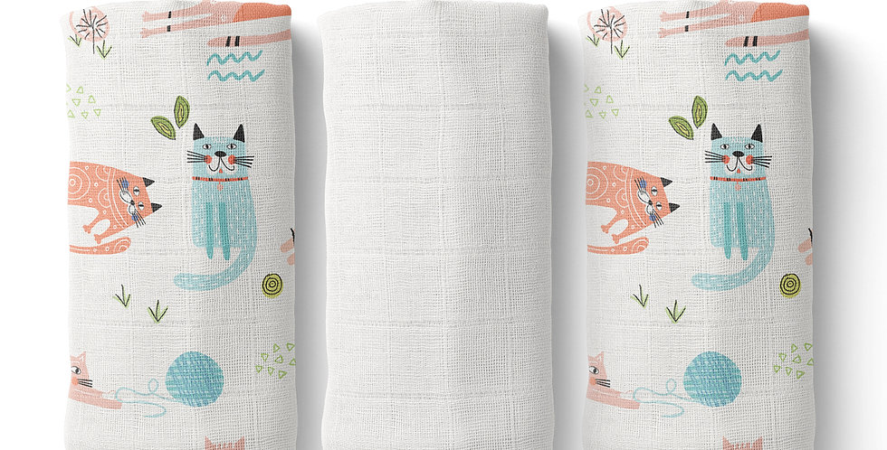 Set prosopele muselina organica organic muslin face towel pisici cats natural