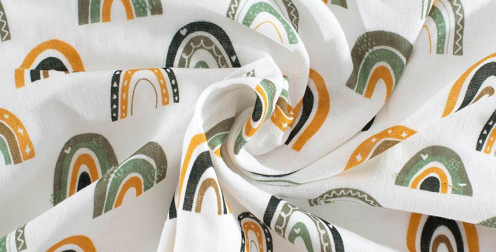 Material textil muselina organica curcubeu verde Buva Boutique organic muslin green rainbow