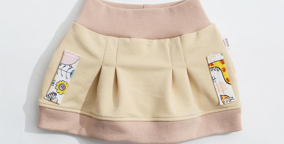 Fustita bumbac OEKO-Tex French terry nude cotton skirt