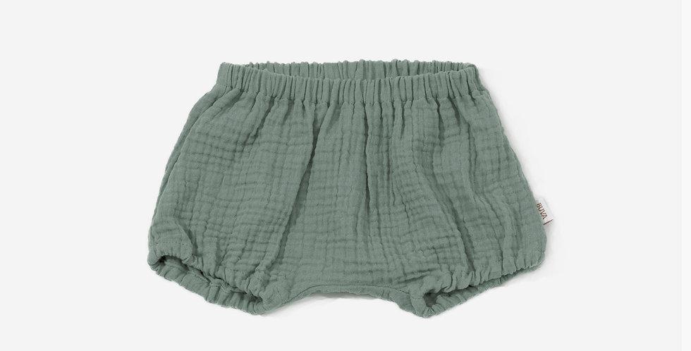 Buva Boutique outfit blouse romper shorts cotton muslin eucalyptus soft kak bluza salopeta pantaloni scurti muselina eucalipt
