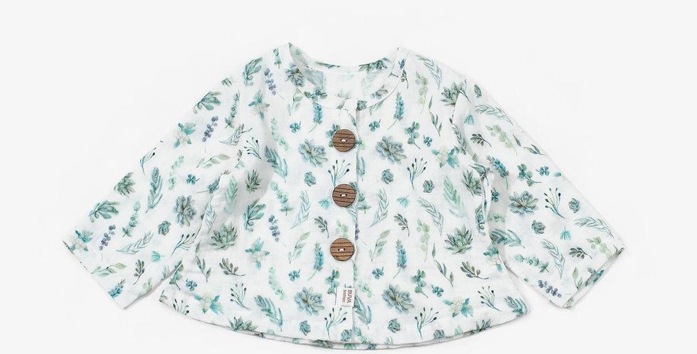 Buva Boutique outfit blouse romper shorts cotton muslingreen leaves copper bluza salopeta pantaloni scurti muselina frunze