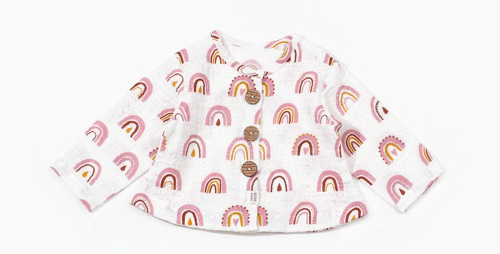 Buva Boutique outfit blouse shorts cotton muslin blush rainbow bluza pantaloni scurti muselina curcubeu roz