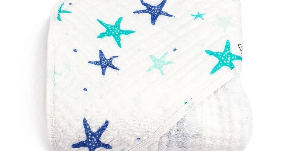 Buva Boutique prosop bebe muselina bumbac capison stelute baby muslin hooded towel stars