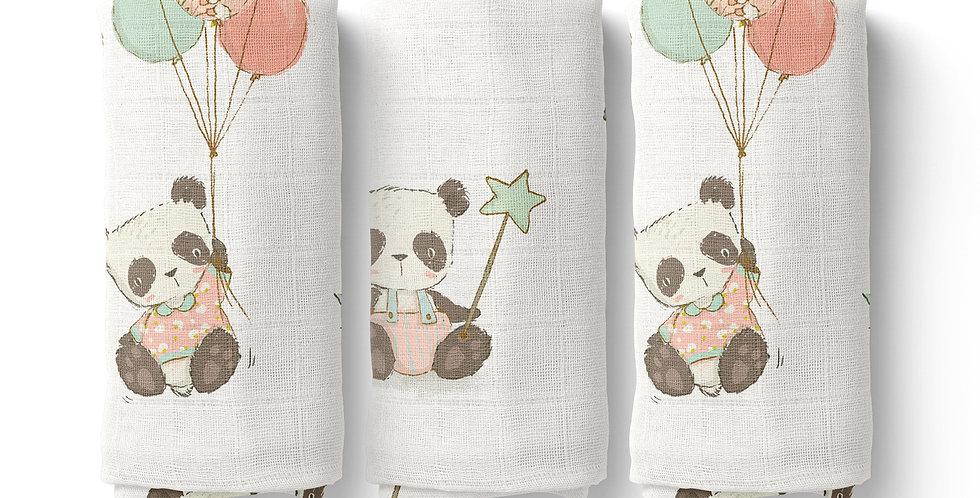 Set prosopele muselina organica panda organic muslin face towel panda