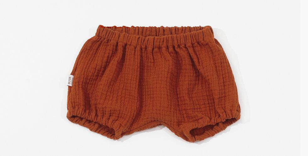 Buva Boutique tinuta muselina camasa pantaloni scurti mac caramiziu baby muslin outfit  poppy sienna