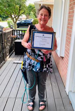 We gave a Certificate of Appreciation to Barbara Barr in 2020