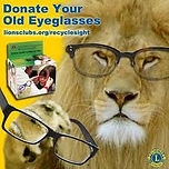 Donate YOur Old Eyeglasses with a Lion wearing eyeglasses