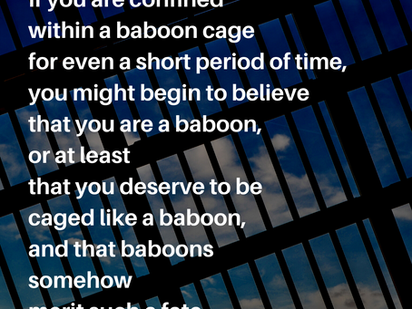 In a cage.