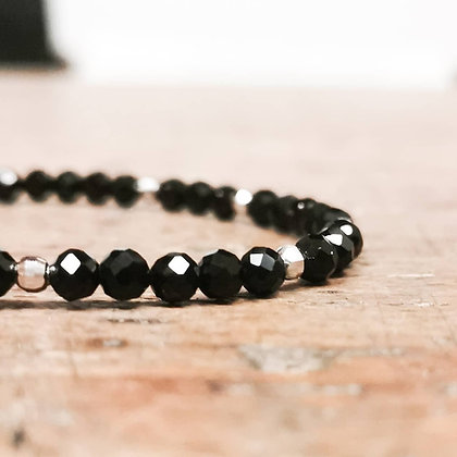 Bracelet Spinelles noires et argent
