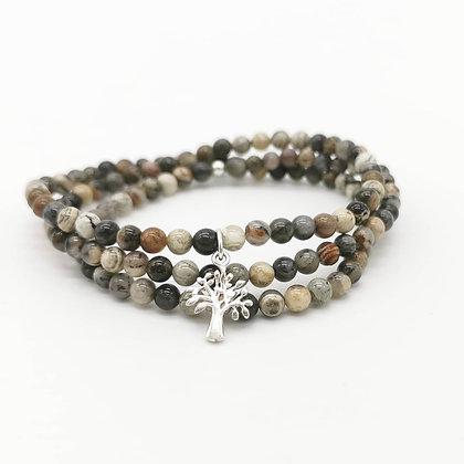 Bracelet jaspe feuille d'argent & arbre