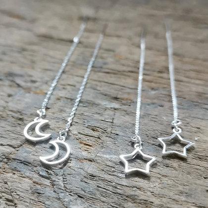 Boucles chaînettes étoiles & lune