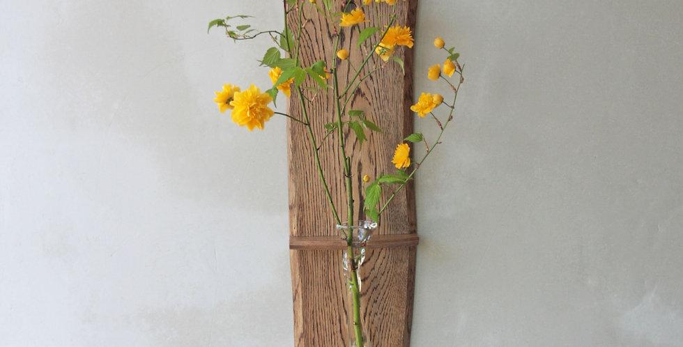 吹き硝子の花器 水楢の木