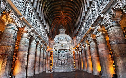 Ajanta Cave with Buddha statue inside in