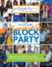 Flyer reading: ProsperityME presents the 12th annual community Block Party, Food, music, entertainment awards. Thursday, May 7th 2020; 5:00pm - 8:00pm Brick South, 8 Thompsons Point Portland, ME