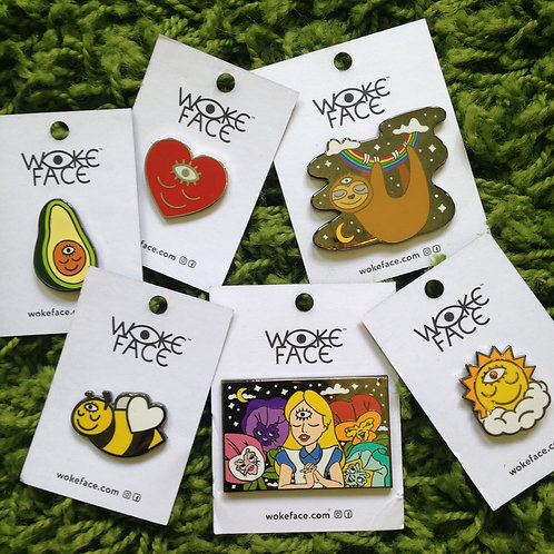 Enamel Pins with Original Artwork by Wokeface
