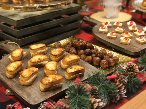 petite baguttete grilled cheese + mini meatballs + sweet chili canape
