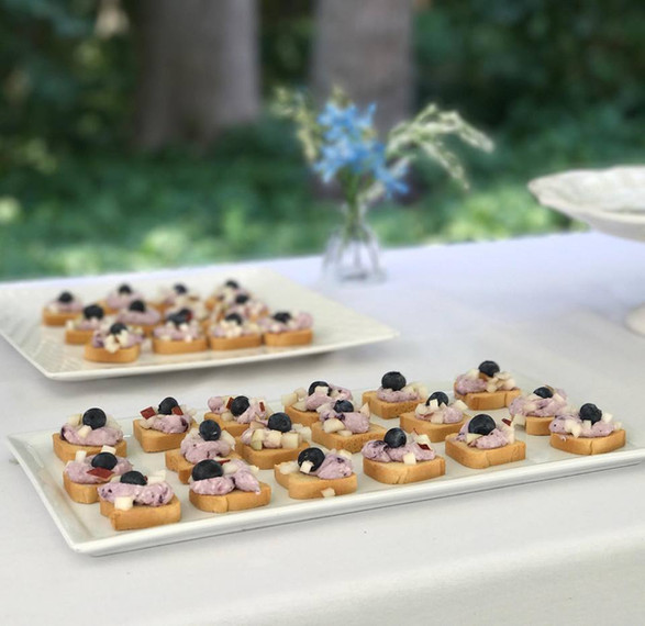 blueberryy + sweet cheese + chopped pear canape